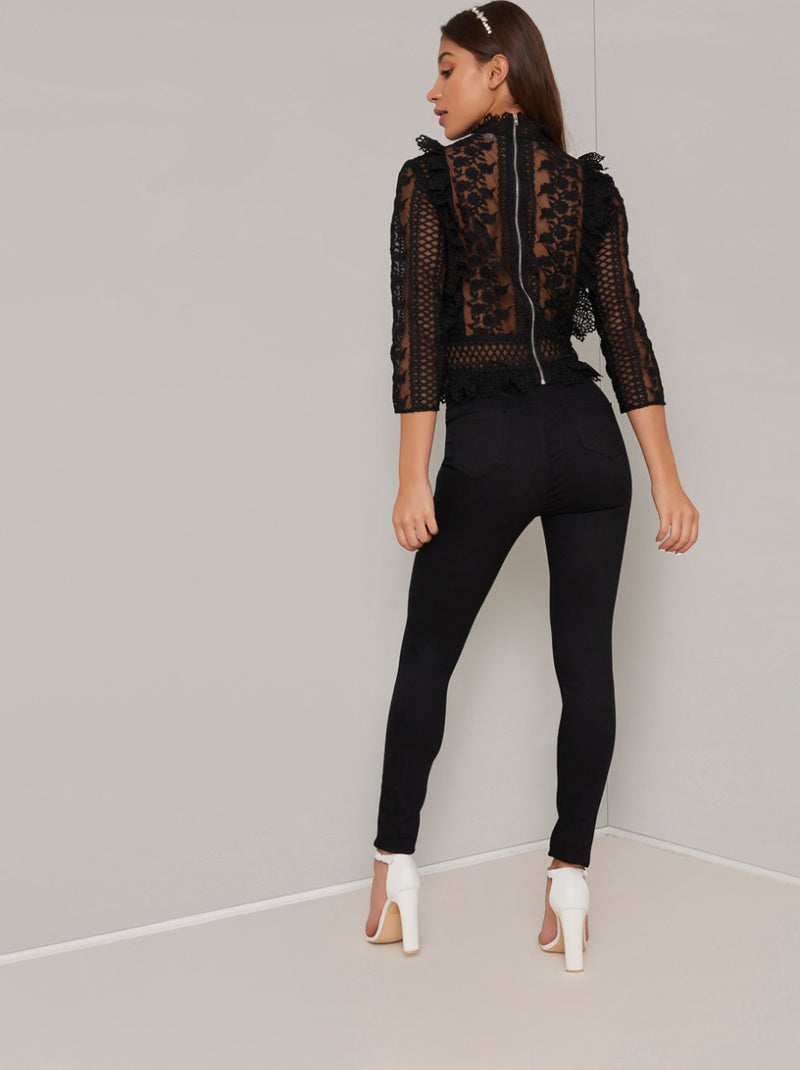 Embroidered Sheer Top in Black