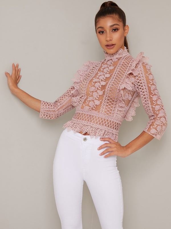 High Neck Sheer Crochet Lace Top in Pink
