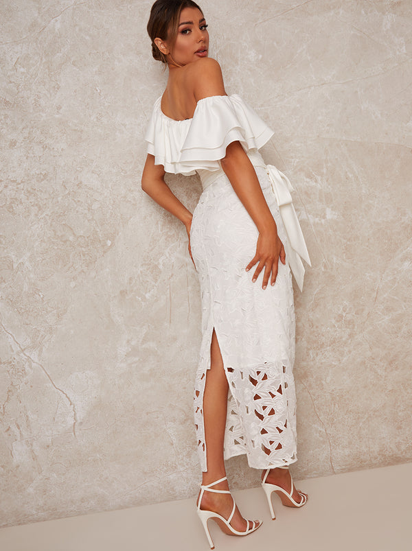 Off Shoulder Crochet Maxi Dress in White