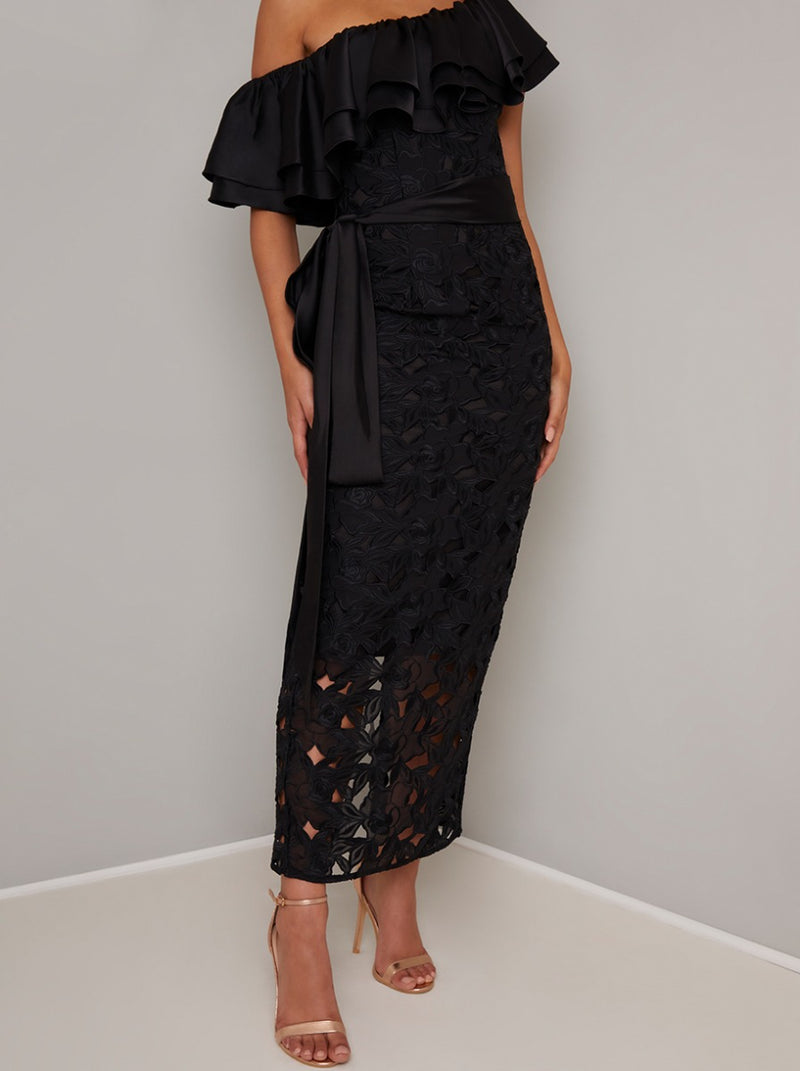 Frill Detail Crochet Fitted Maxi Dress in Black