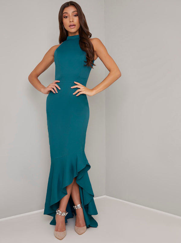 High Neck Bodycon Dip Frill Hem Maxi Dress in Green