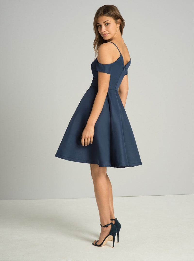 Plain Skater Midi Dress with Cut Out Detailing in Blue