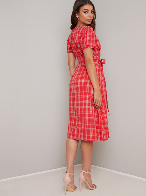 Short Sleeved Check Print Midi Dress in Red