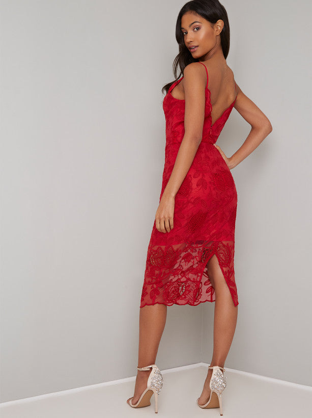 Bodycon Lace Overlay Midi Dress in Red