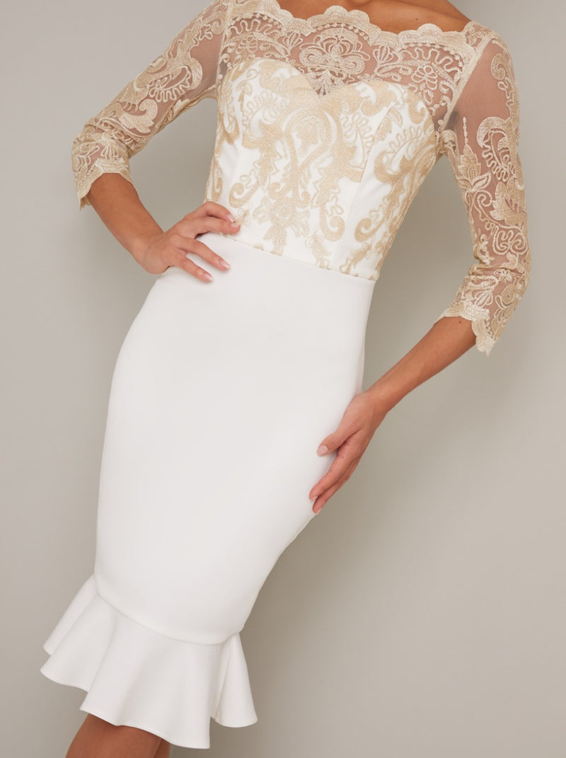 Embroidered Bodycon Peplum Hem Midi Dress in Cream