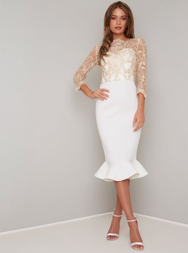 Embroidered Lace Bodycon Peplum Midi Dress in Cream