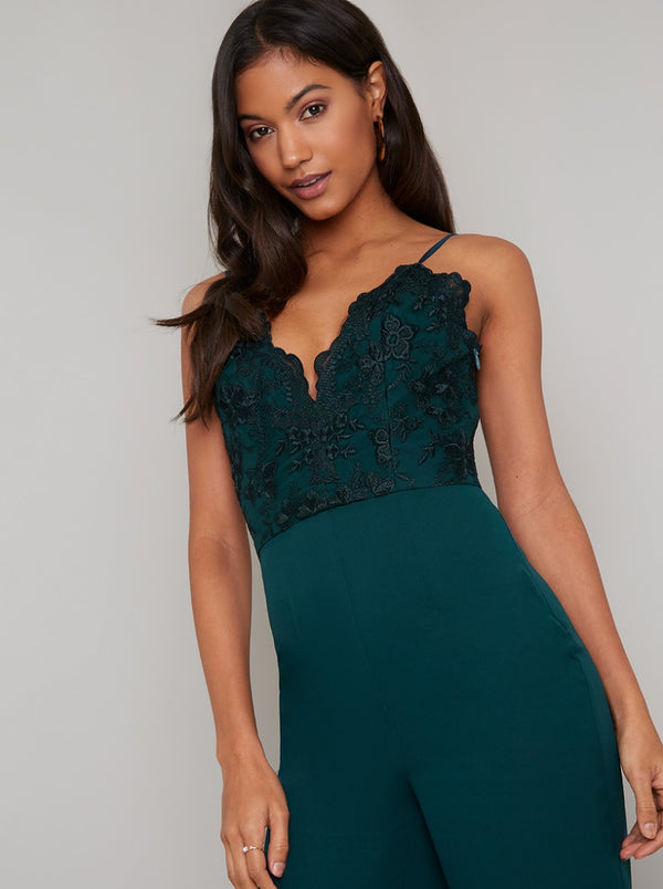 Cami Strap Lace Bodice Wide Leg Jumpsuit in Green