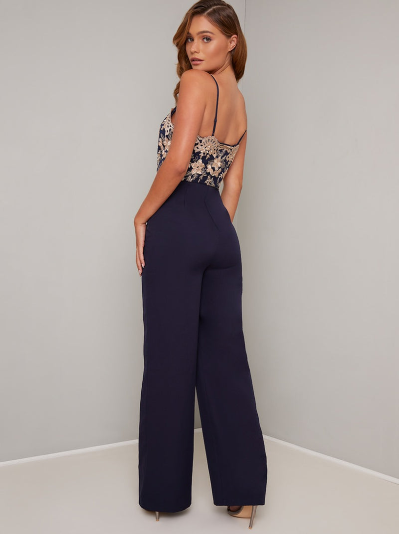 Cami Strap Lace Bodice Wide Leg Jumpsuit in Black