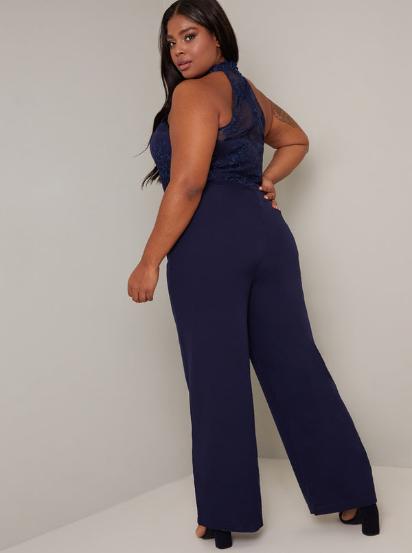 Plus Size Halter Neck Lace Wide Leg Jumpsuit in Blue