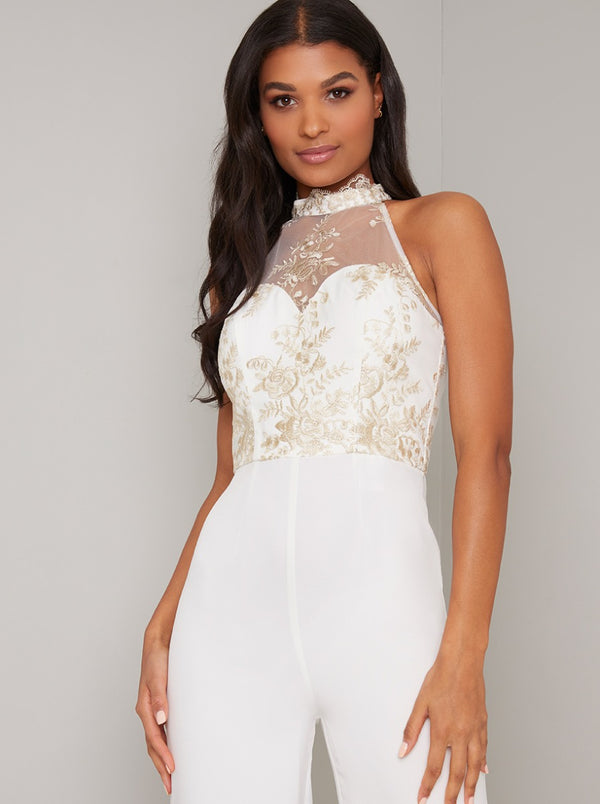 Embroidered Jumpsuit with Flared Trousers in Cream