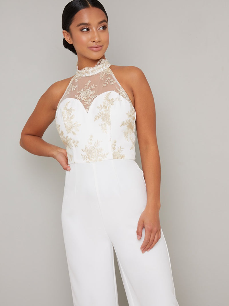 Petite High Neck Embroidered Wide Leg Jumpsuit in Cream