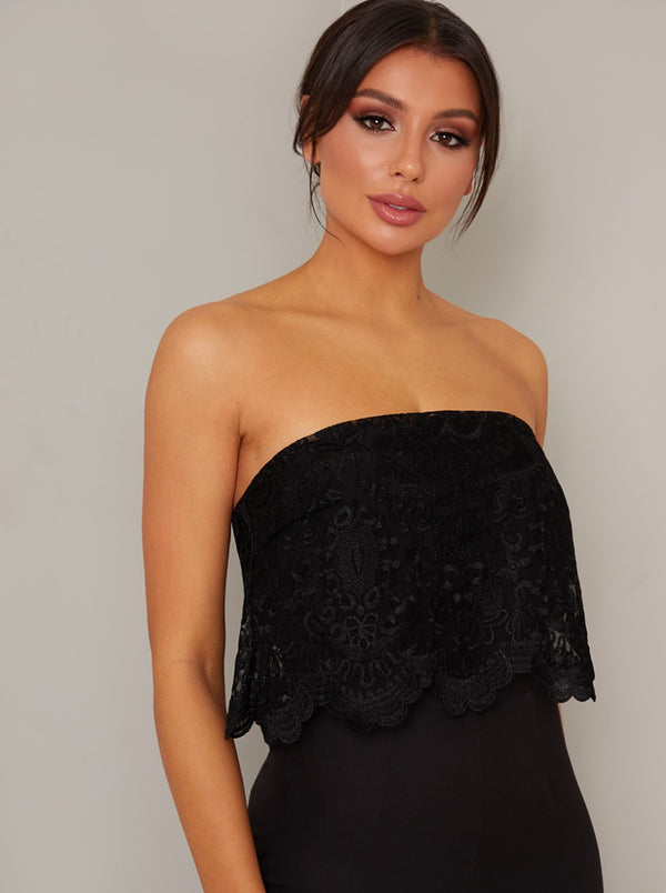 Strapless Overlay Fitted Jumpsuit in Black