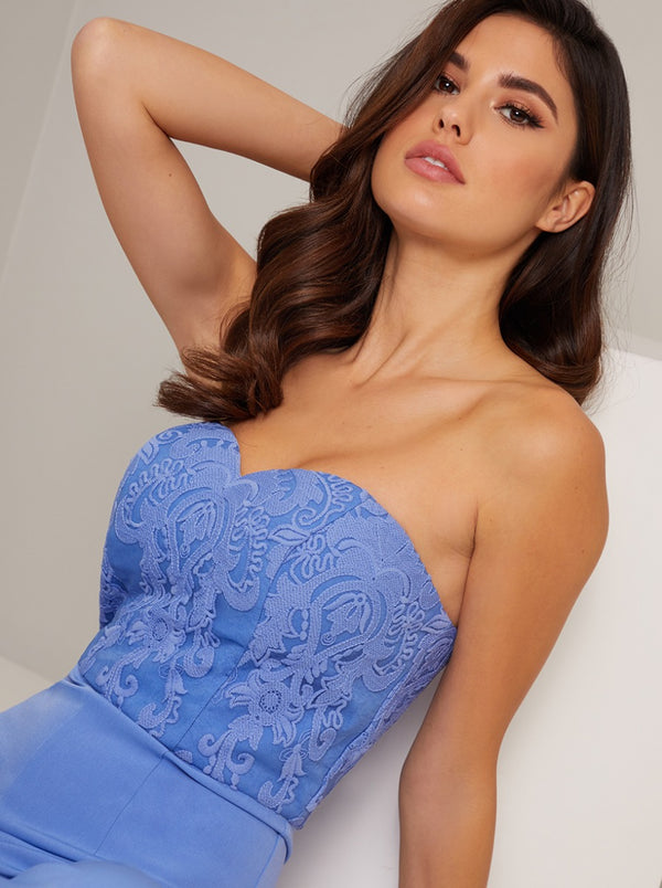 Lace Sweetheart Bodice Wide Leg Jumpsuit in Blue