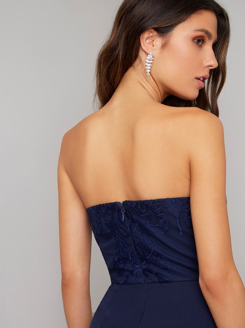 Strapless Lace Bodice Flared Leg Jumpsuit in Blue