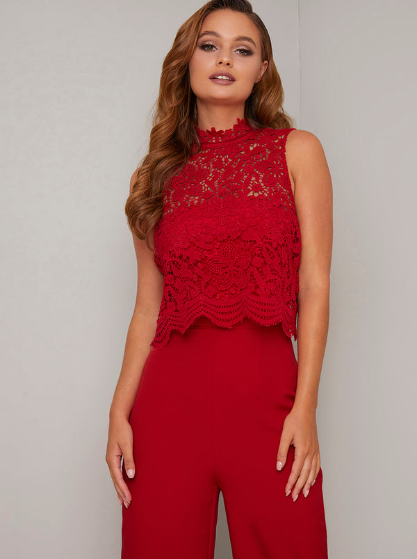 Lace Overlay Flared Leg Jumpsuit in Red