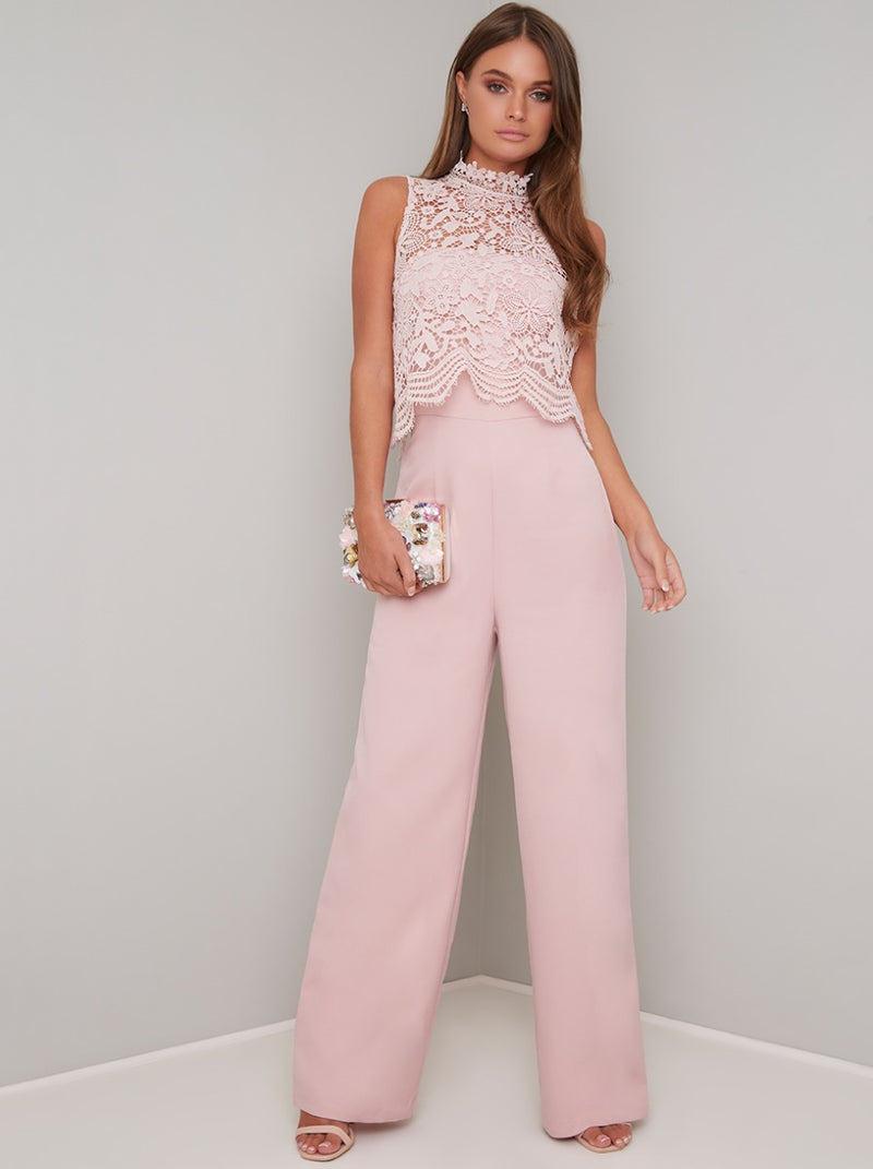 High Neck Lace Overlay Wide Leg Jumpsuit in Pink