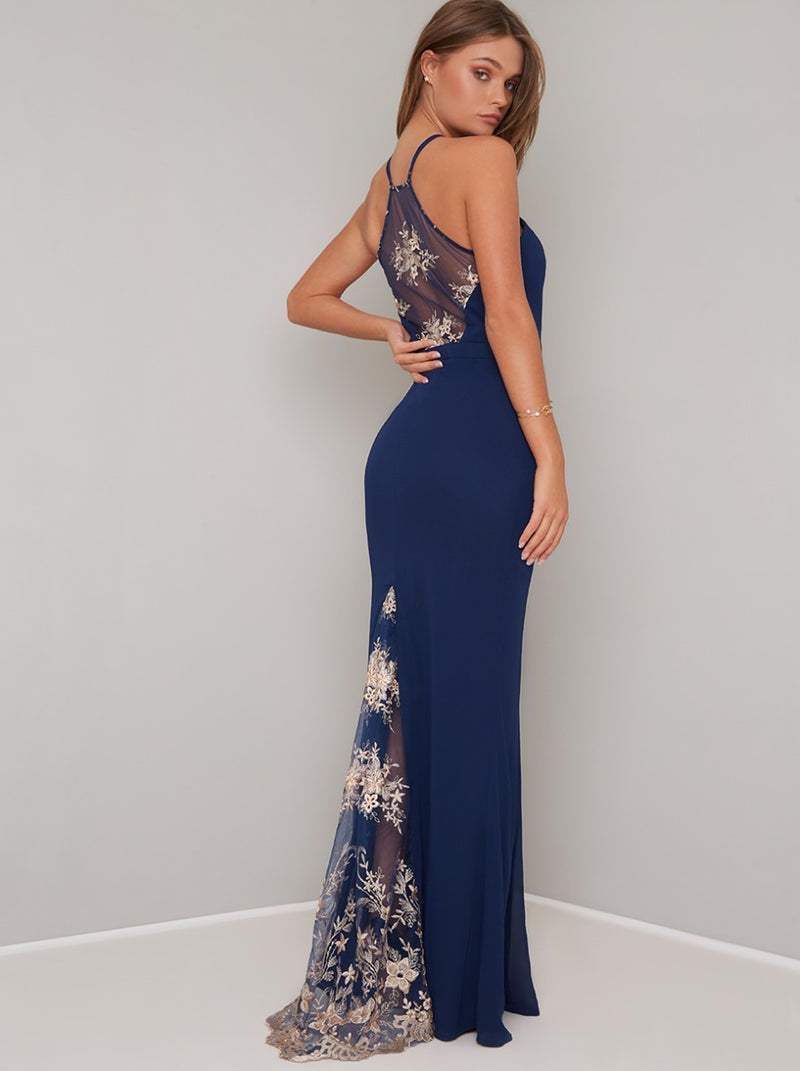 Cami Strap Lace Panel Maxi Dress in Blue
