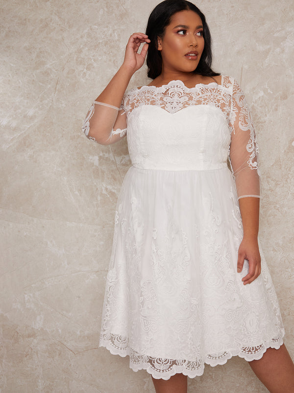 Plus Size Bridal Lace Long Sleeve Midi Dress in White