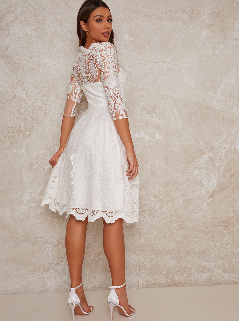 Lace Bridal Midi Dress in White