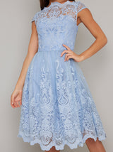Baroque Style Lace Scalloped Midi Dress in Blue