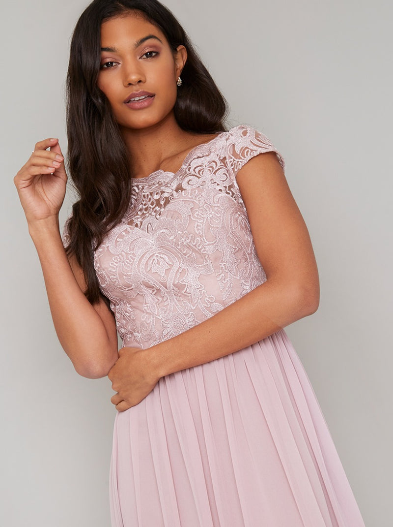 Lace Bodice Cap Sleeved Maxi Dress in Pink