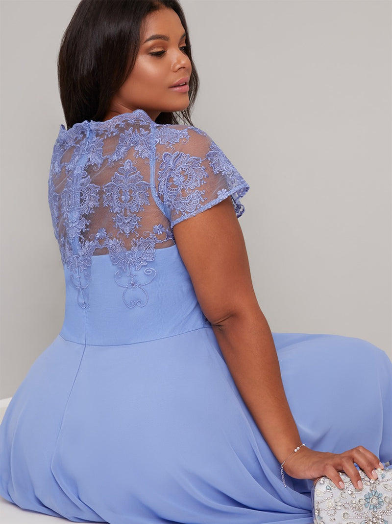 Plus Size Lace Bodice Cap Sleeve Midi Dress in Blue