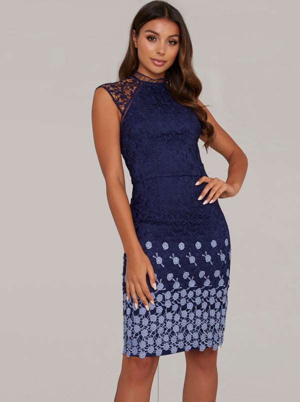 Tall Crochet Bodycon Dress with Ombre Detailing in Blue
