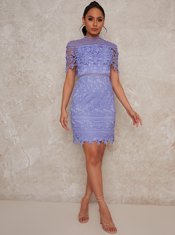 Crochet Midi Dress with Cape Design in Blue