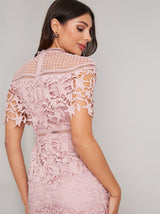 Short Sleeved Lace Crochet Bodycon Midi Dress in Pink