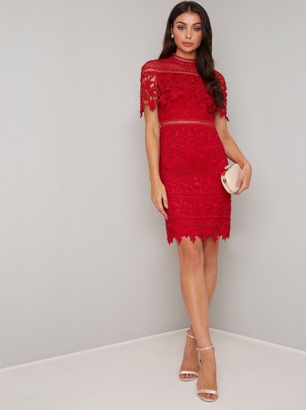 High Neck Lace Bodycon Midi Dress in Red