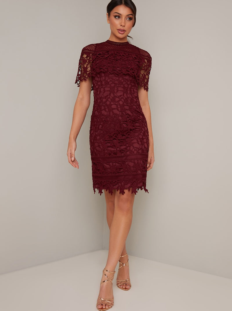 Tall High Neck Lace Crochet Bodycon Midi Dress in Red