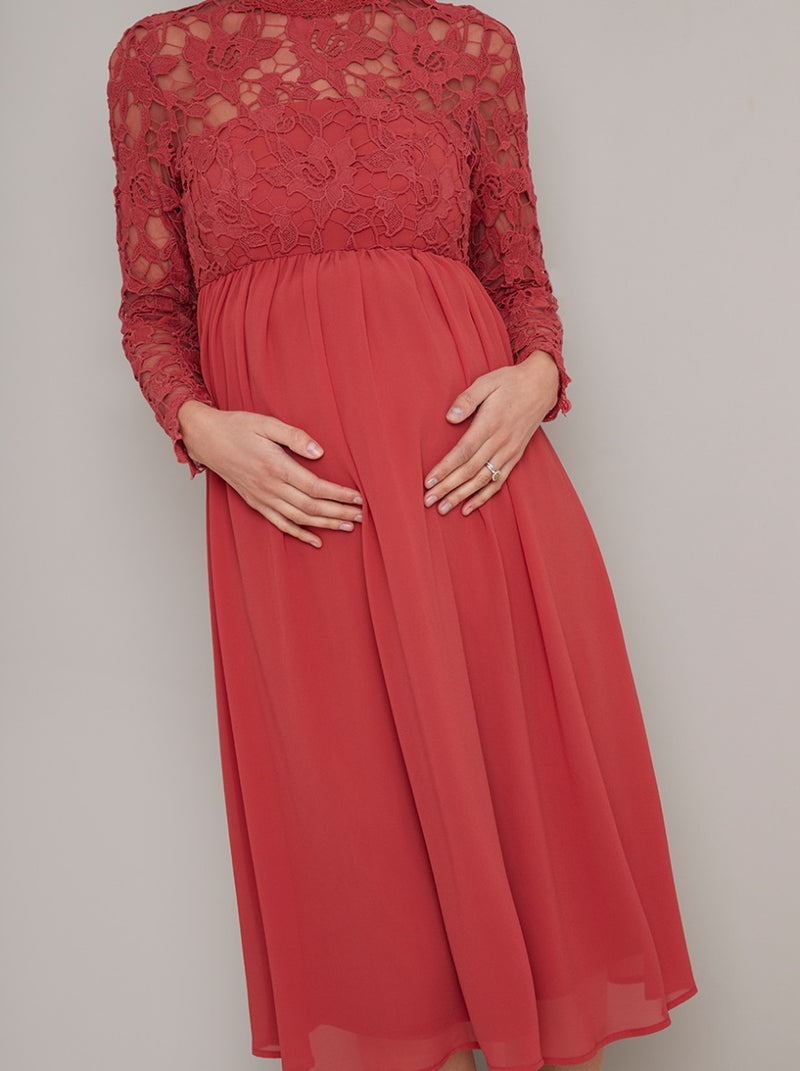 Maternity Long Sleeved Lace Midi Dress in Red