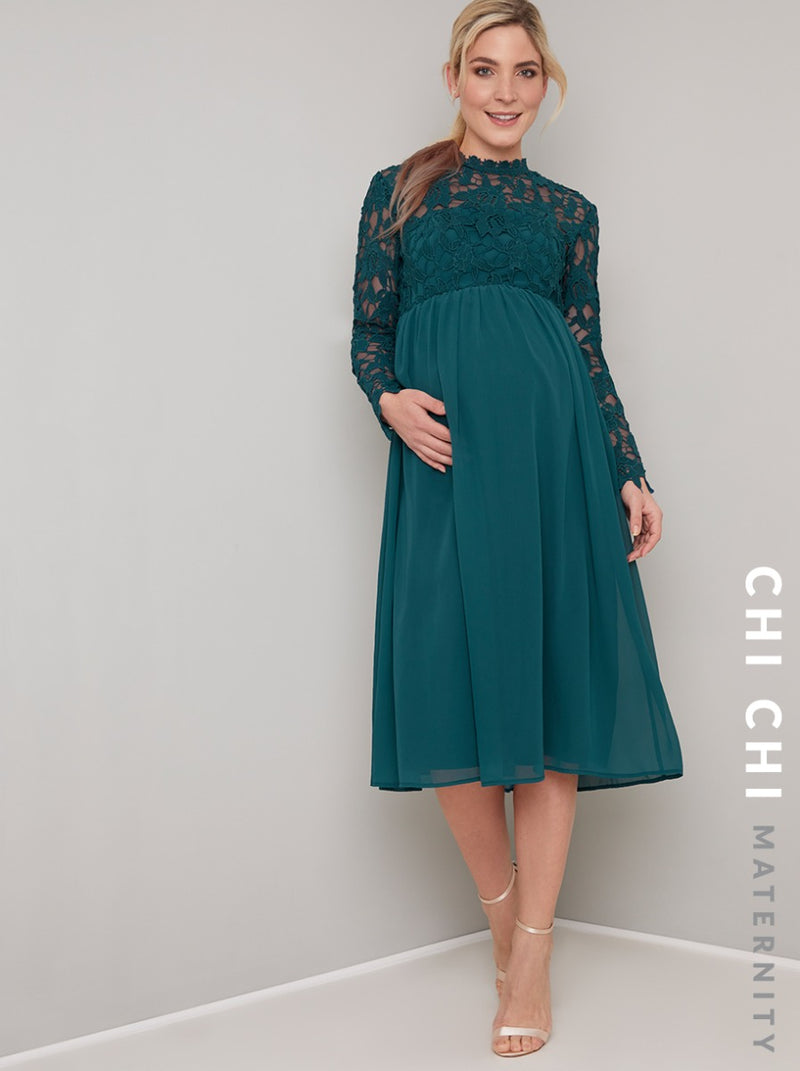 Maternity Crochet Long Sleeved Midi Dress in Green