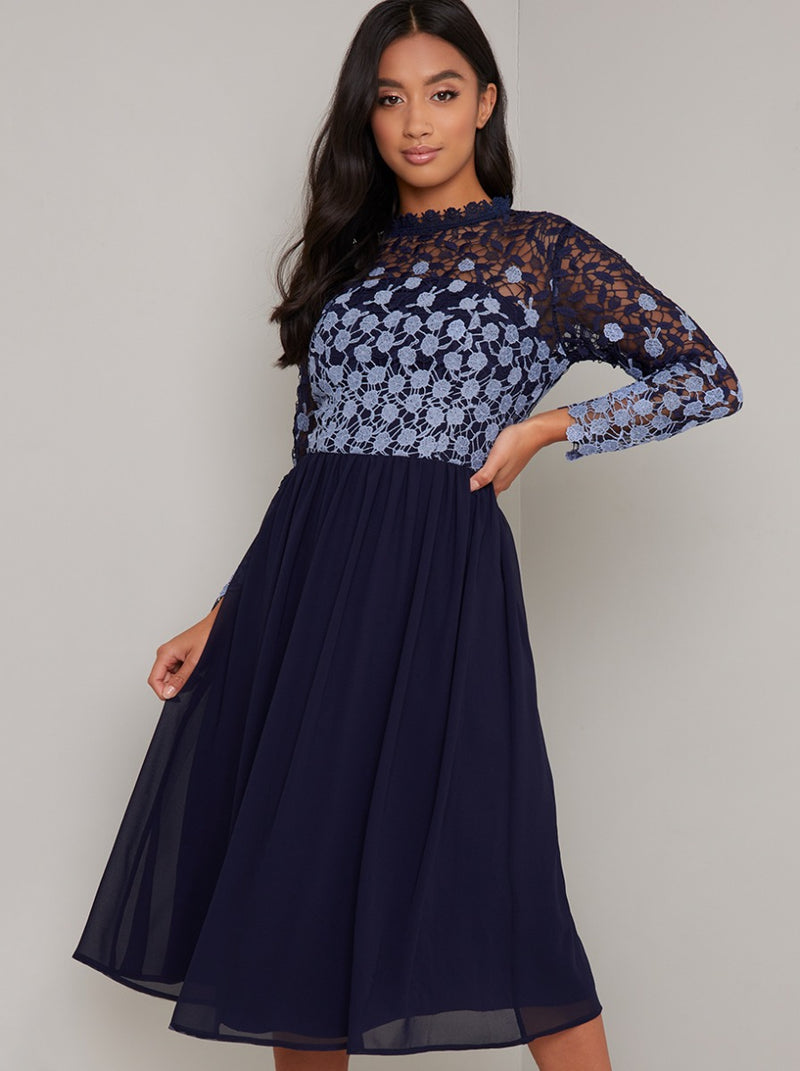 Petite Lace Long Sleeved Midi Dress In Navy