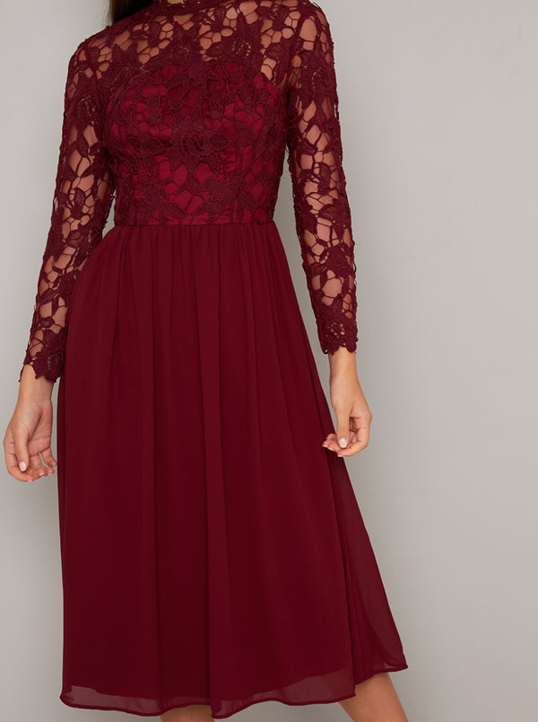 Crochet Midi Dress with High Neckline Design in Red