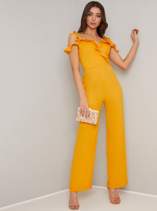 Ruffle Design Wide Leg Jumpsuit in Yellow