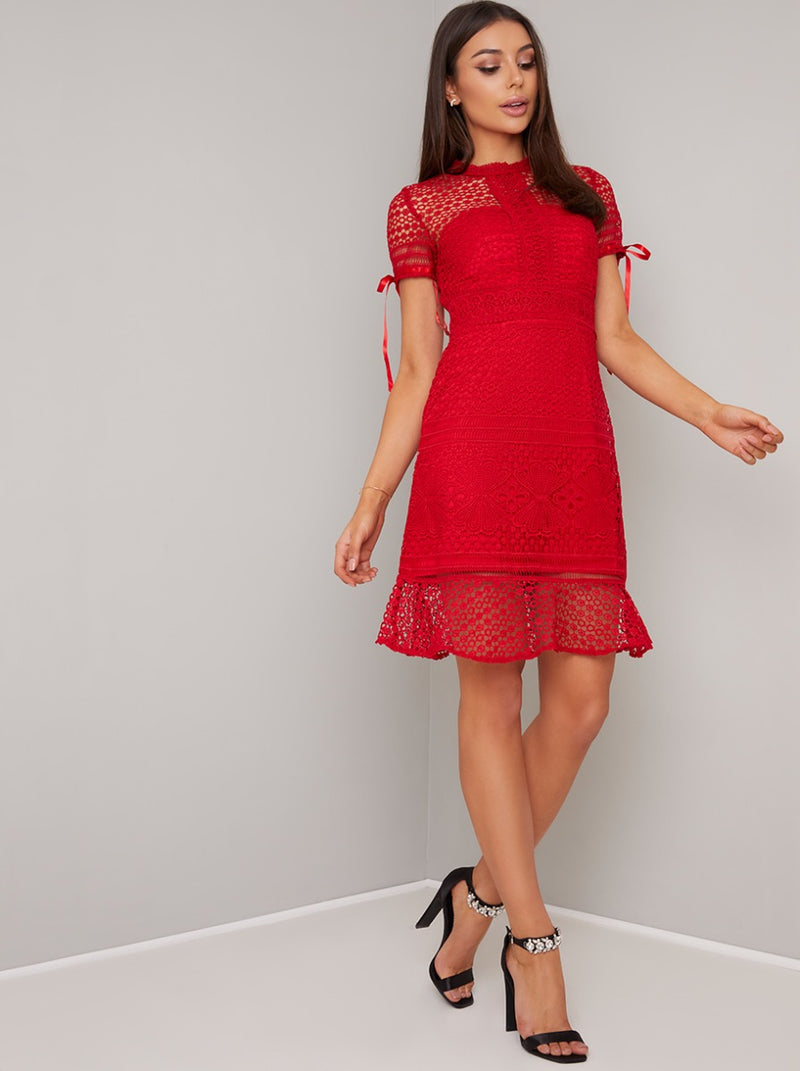 Crochet Design Peplum Hem Bodycon Dress in Red