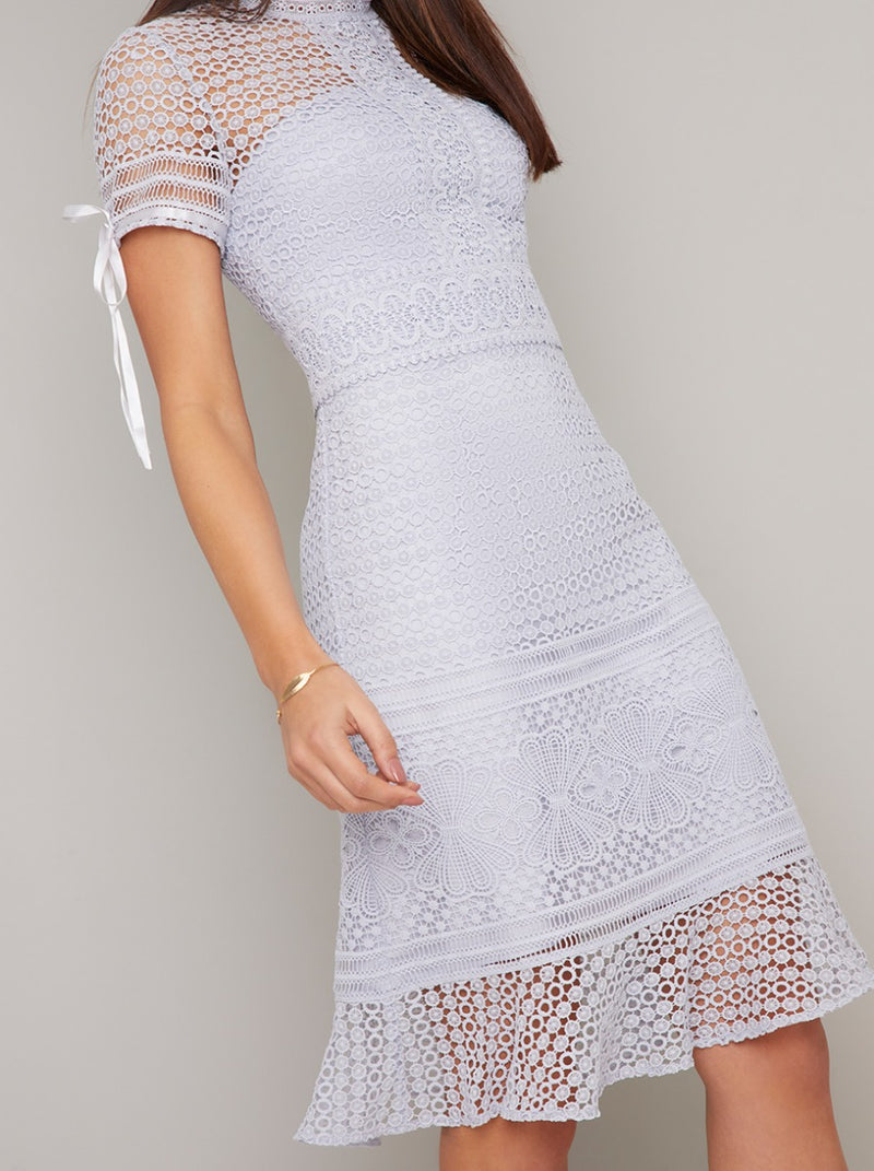 Tall Crochet Lace Overlay Midi Dress in Grey