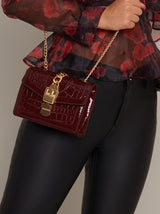 Croc Print Small Shoulder Bag in Red