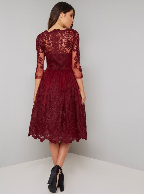 Sheer Sleeved Lace Bodice Midi Dress in Red