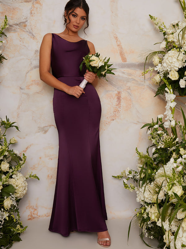 Satin Slip Bridesmaid Maxi Dress in Purple