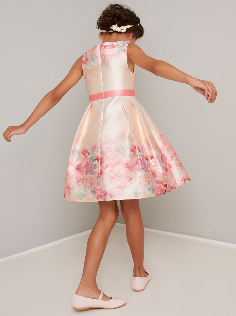Girls Floral Print Midi Dress in Pink