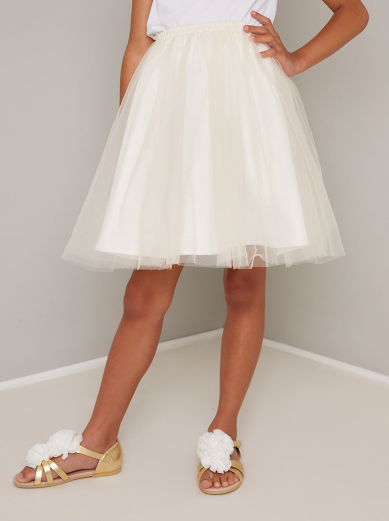 Girls Mesh Tulle Midi Skirt in Cream