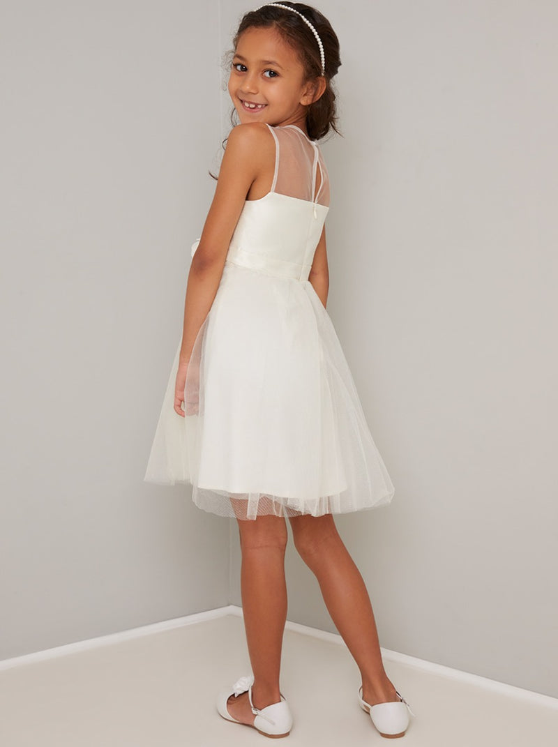 Girls Tulle Midi Dress with Corsage Detail in Cream