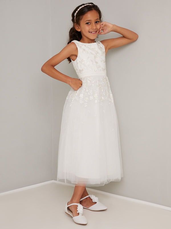 Girls Lace Embroidered Flowergirl Dress in Cream