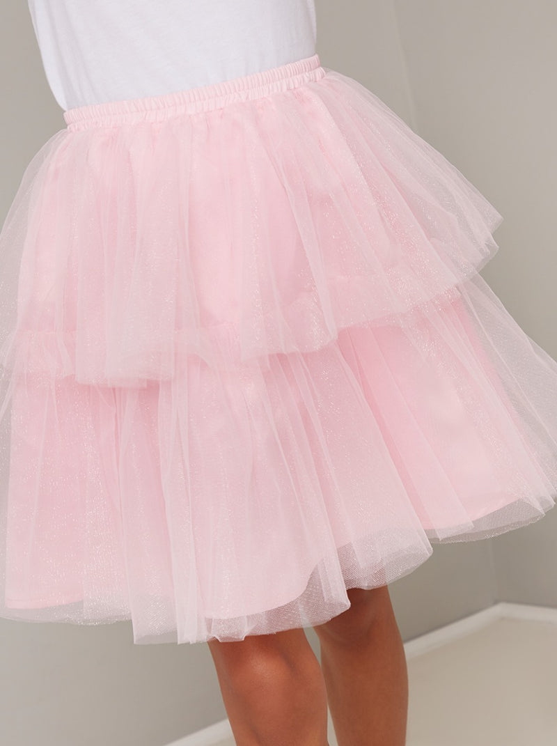 Girls Tiered Tulle Midi Tutu Skirt in Pink