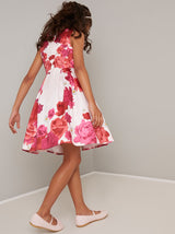 Girls Floral Placement Midi Dress in Pink