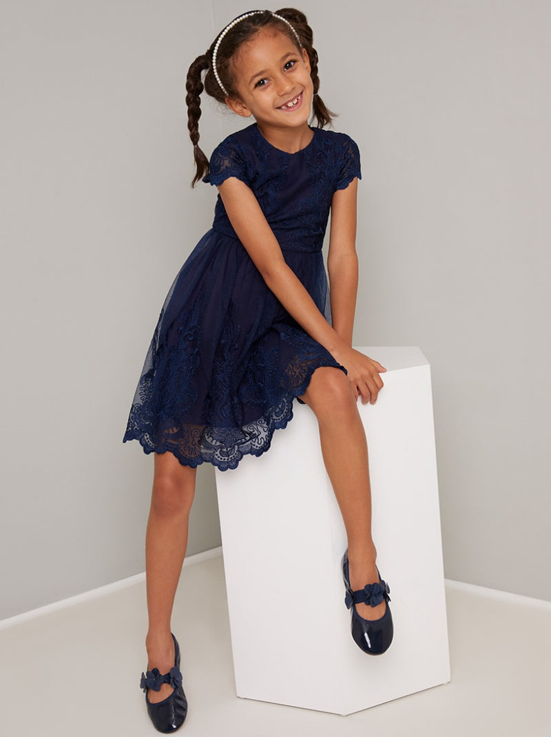 Girls Lace Scalloped Party Dress In Navy