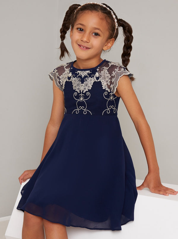 Girls Lace Bodice Dress in Blue