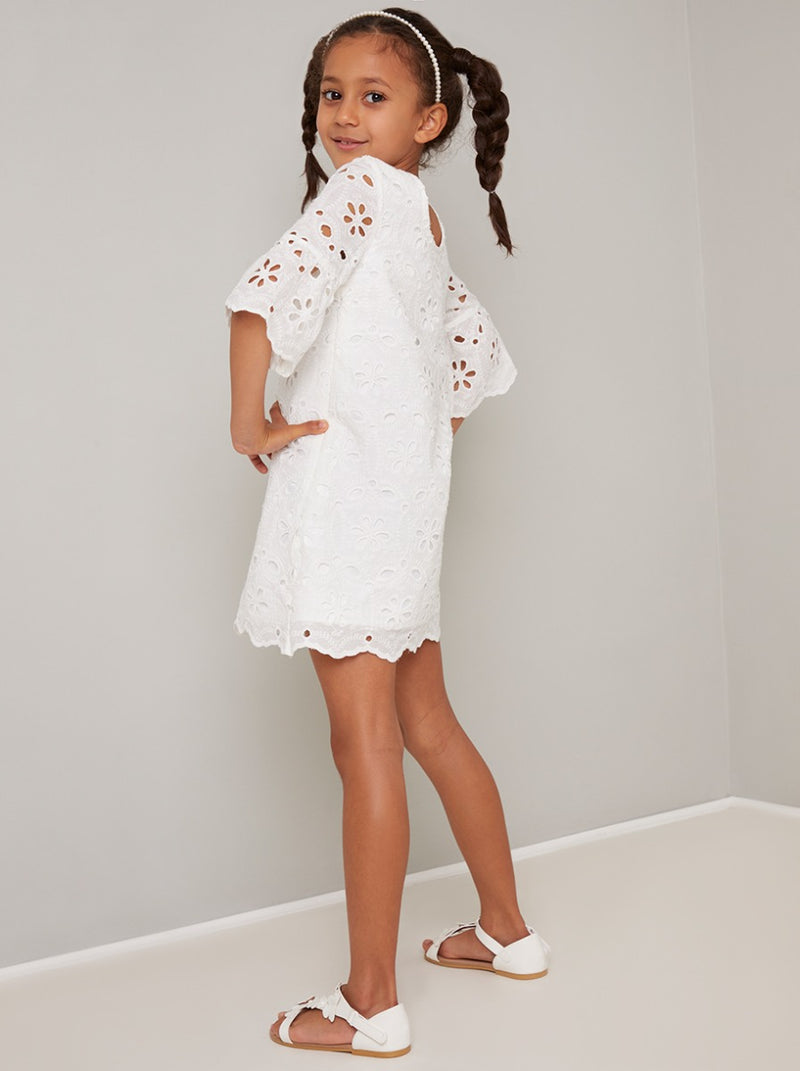 Girls Lace Scalloped Hem Midi Dress in White